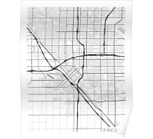 Fresno Map, USA - Black and White Poster