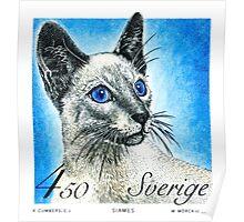 1994 Sweden Siamese Cat Postage Stamp Poster