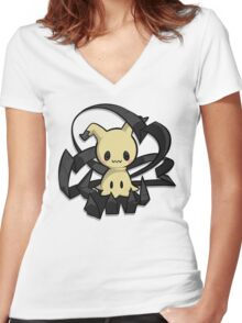 Mimikyu Women's Fitted V-Neck T-Shirt