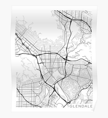 Glendale Map, USA - Black and White Poster