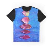 Autumn Leaves on Blue Vintage Table Graphic T-Shirt