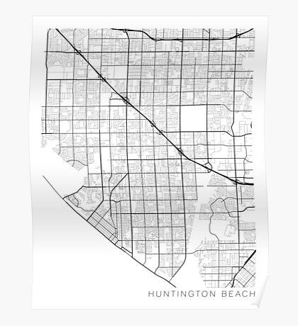 Huntington Beach Map, USA - Black and White Poster