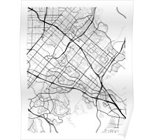 Irvine Map, USA - Black and White Poster
