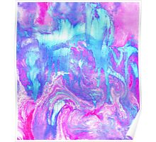 Melting Marble in Pink & Turquoise Poster