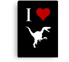 I Love Dinosaurs - Velociraptor (white design) Canvas Print