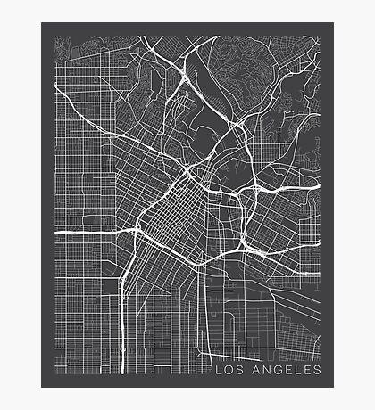 Los Angeles Map, USA - Gray  Photographic Print