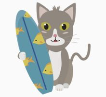 Cat with surfboard   One Piece - Short Sleeve
