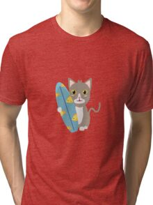 Cat with surfboard   Tri-blend T-Shirt