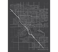 Modesto Map, USA - Gray Photographic Print