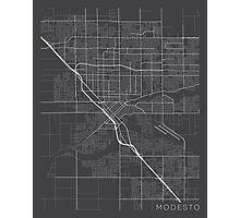 Modesto Map, USA - Gray Photographic Print
