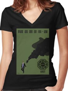 Lost Poster Women's Fitted V-Neck T-Shirt