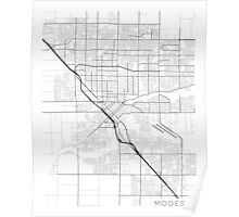 Modesto Map, USA - Black and White Poster