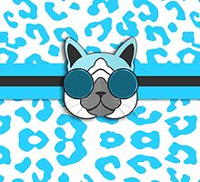 Hipster Cat Turquoise Animal Print by Doreen Erhardt