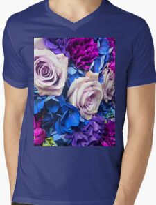 Rose Bouquet in Blues and Purples Mens V-Neck T-Shirt