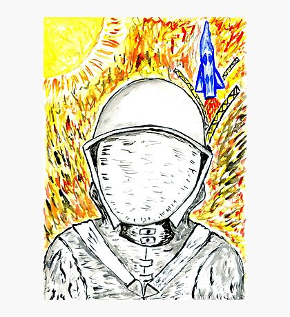 Cartoon Painted Astronaut 2 Photographic Print