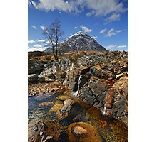 Coupall Cascades and Buachaille Etive Mor Photographic Print
