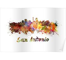 San Antonio skyline in watercolor Poster