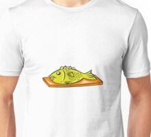 Fish On Chopping Board Cartoon Unisex T-Shirt