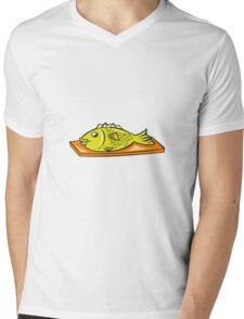Fish On Chopping Board Cartoon Mens V-Neck T-Shirt