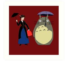 Mary Poppin and totoro umbrela Art Print