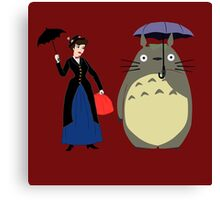 Mary Poppin and totoro umbrela Canvas Print