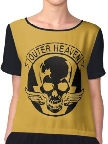 Outer Haven Logo Black Chiffon Top