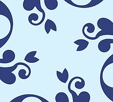 French Damask, Ornaments, Swirls - Blue  by sitnica