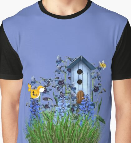 Larkspur Garden with Yellow Canary Graphic T-Shirt