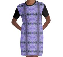 fish in purple and lavendar water with seagrass pattern Graphic T-Shirt Dress