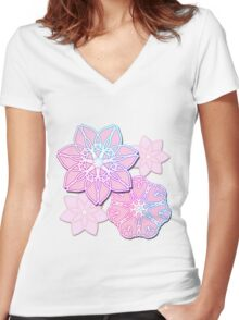Abstract Lotus Flowers Women's Fitted V-Neck T-Shirt