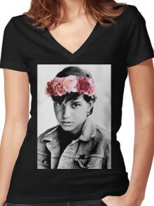 Johnny Cade Flower Crown Women's Fitted V-Neck T-Shirt
