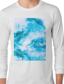 Blue hand painted raster seamless pattern Long Sleeve T-Shirt