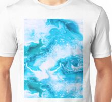 Blue hand painted raster seamless pattern Unisex T-Shirt