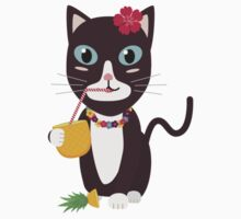 Hawaii cat with pineapple   One Piece - Long Sleeve