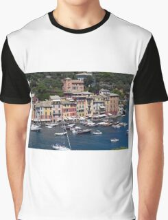 Photography of the beautiful Portofino fishing village in Italy. Aerial view on small bay and colorful houses at town of Portofino in Liguria, Italy. Graphic T-Shirt