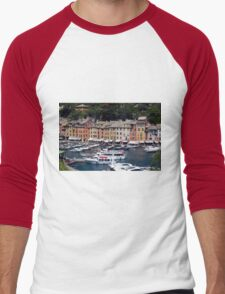 Photography of the beautiful Portofino fishing village in Italy. Aerial view on small bay and colorful houses at town of Portofino in Liguria, Italy. Men's Baseball ¾ T-Shirt