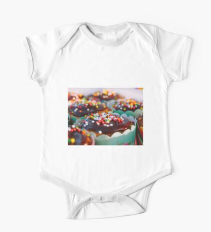 cupcakes decorated with chocolate and candy sprinkle One Piece - Short Sleeve