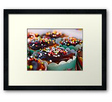 cupcakes decorated with chocolate and candy sprinkle Framed Print
