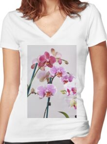 Purple Orchid on white background Women's Fitted V-Neck T-Shirt
