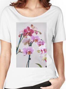 Purple Orchid on white background Women's Relaxed Fit T-Shirt