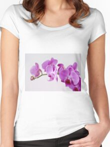 Purple Orchid on white background Women's Fitted Scoop T-Shirt