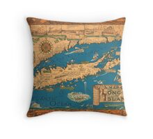 1953 Long Island map - special gift idea Throw Pillow
