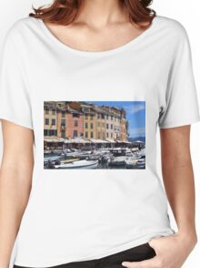 Photography of the beautiful Portofino fishing village in Italy. Aerial view on small bay and colorful houses at town of Portofino in Liguria, Italy. Women's Relaxed Fit T-Shirt