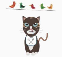 Hungry cat with birds   Kids Tee