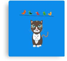 Hungry cat with birds   Canvas Print
