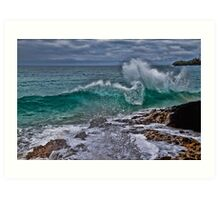 Panama. Bocas del Toro. Red Frog Beach. Crashing Waves. Art Print