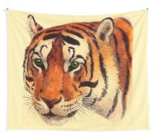Green Eyed Tiger Art Wall Tapestry