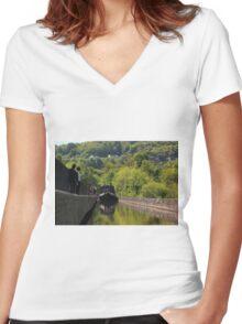 Pontcysyllte Aqueduct Women's Fitted V-Neck T-Shirt