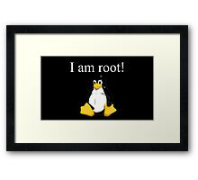 Linux quote: tux is root Framed Print