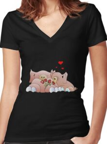 pigs in love Women's Fitted V-Neck T-Shirt